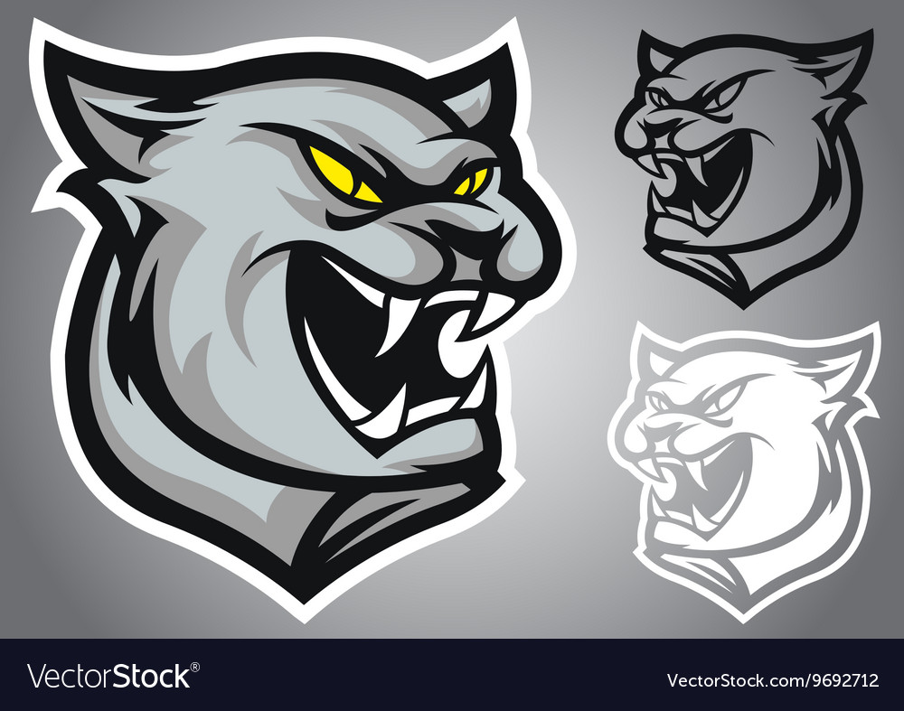 Cat panther logo emblem vector image