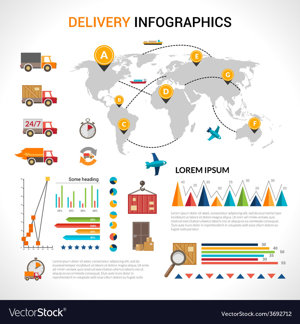 Delivery flat infographics set vector image