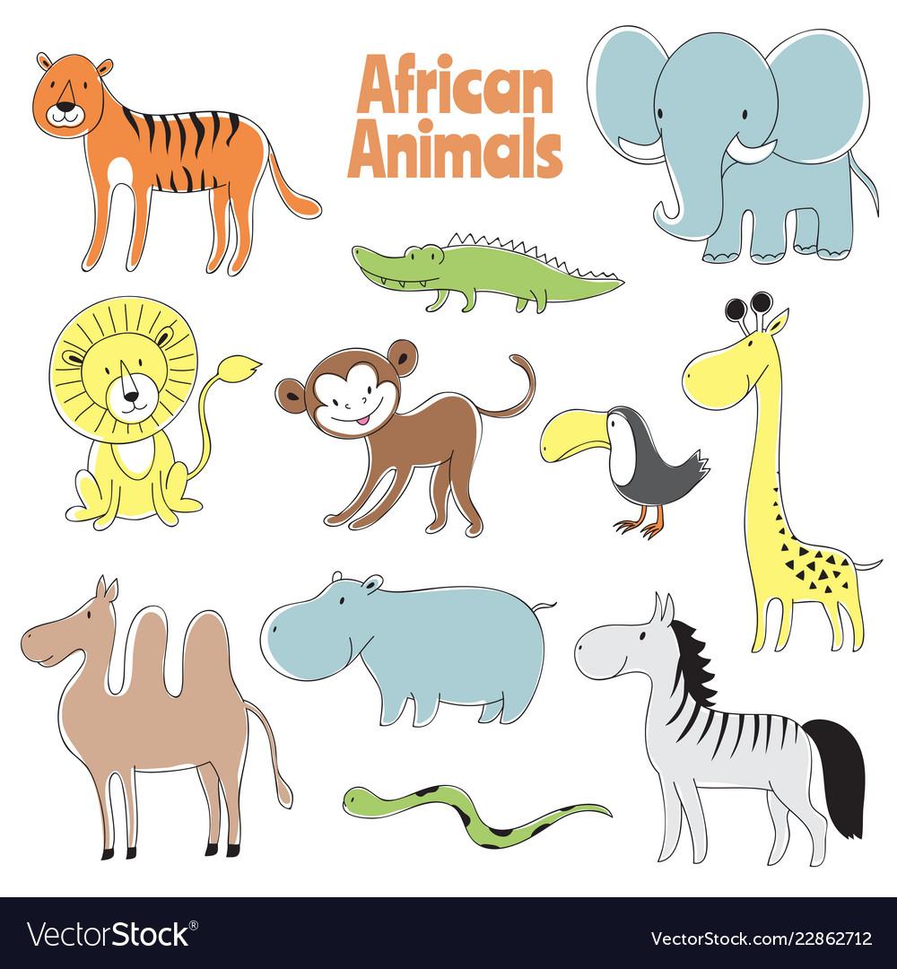Doodle animals african baby animal lion monkey