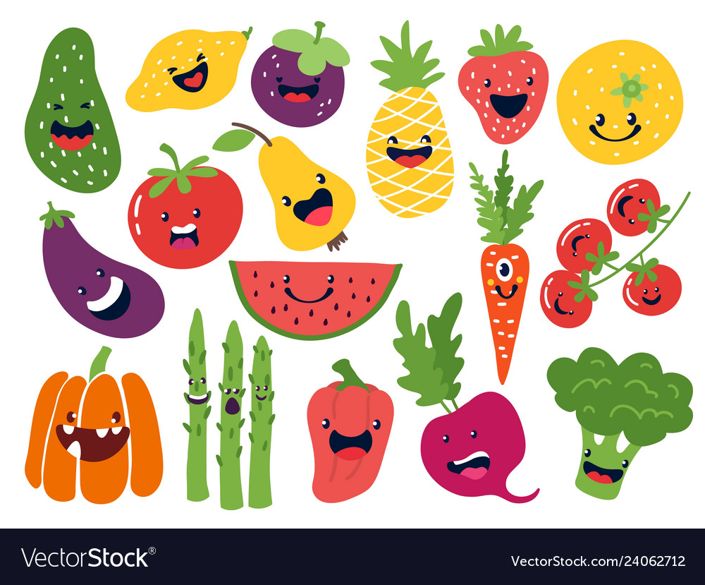 Flat vegetable characters funny smiley doodle
