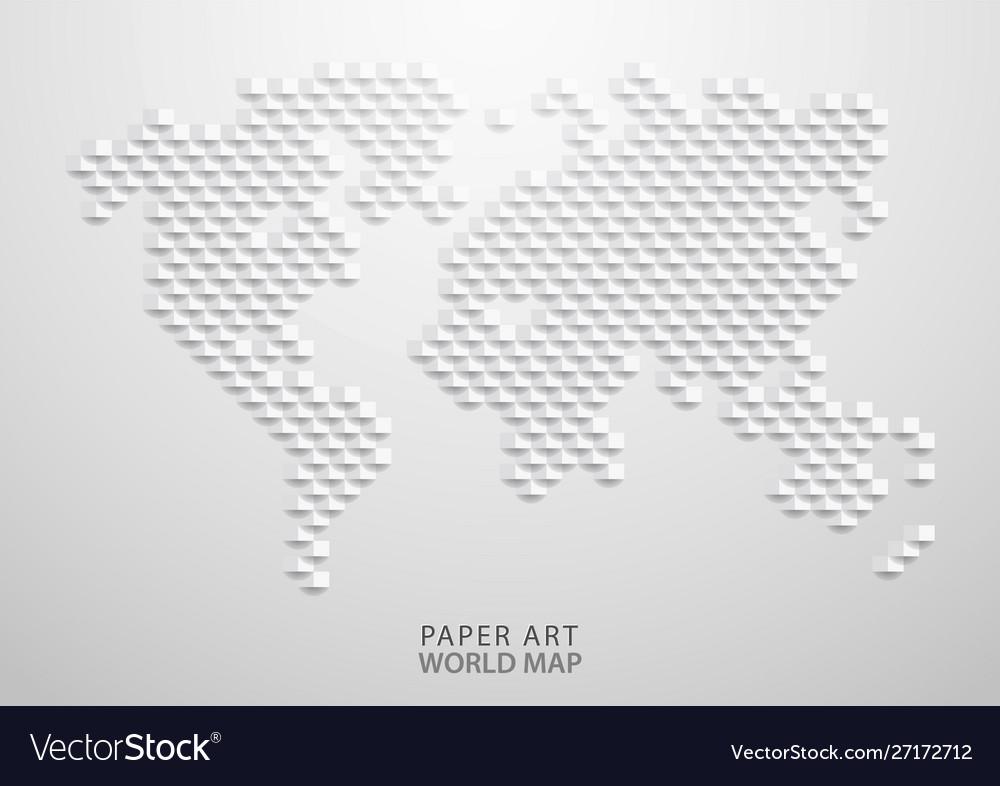 Paper art a world map