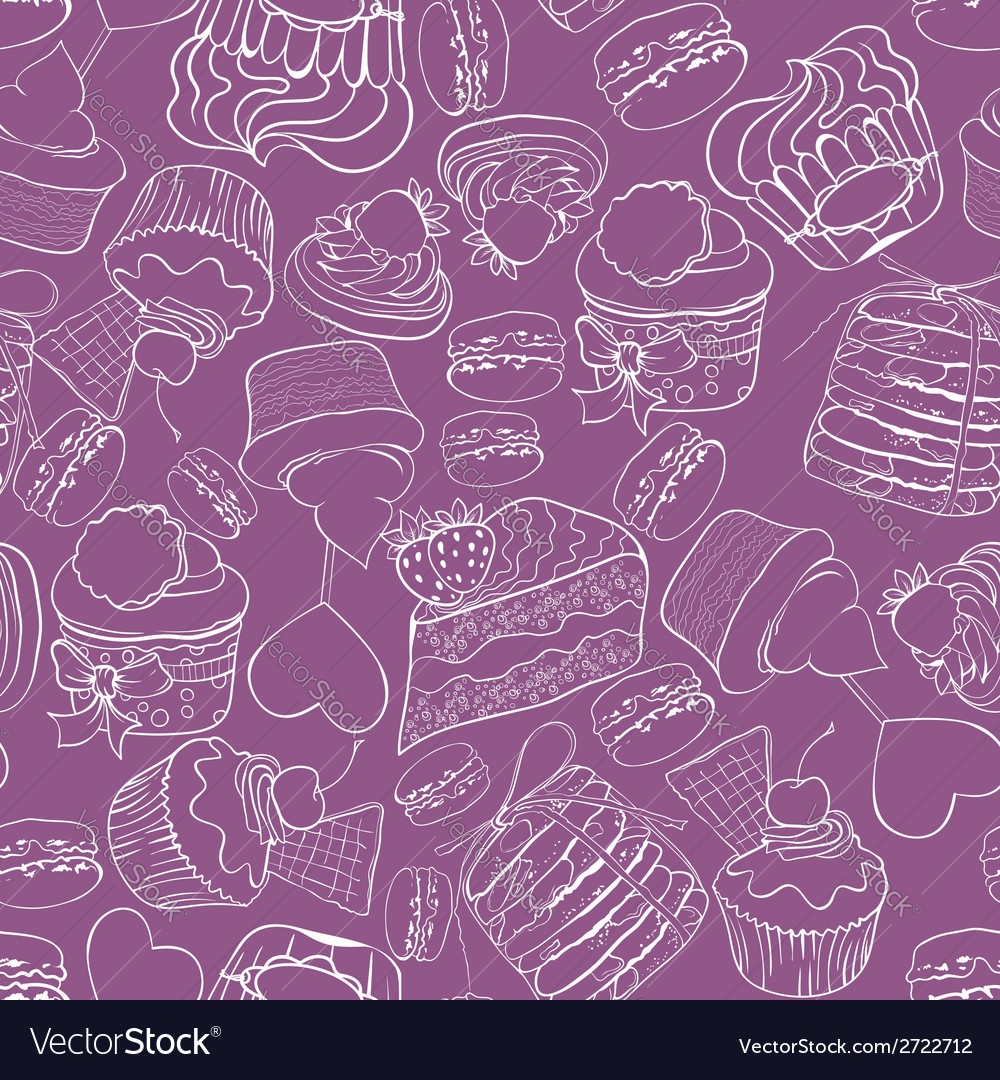Seamless cupcak background vector image