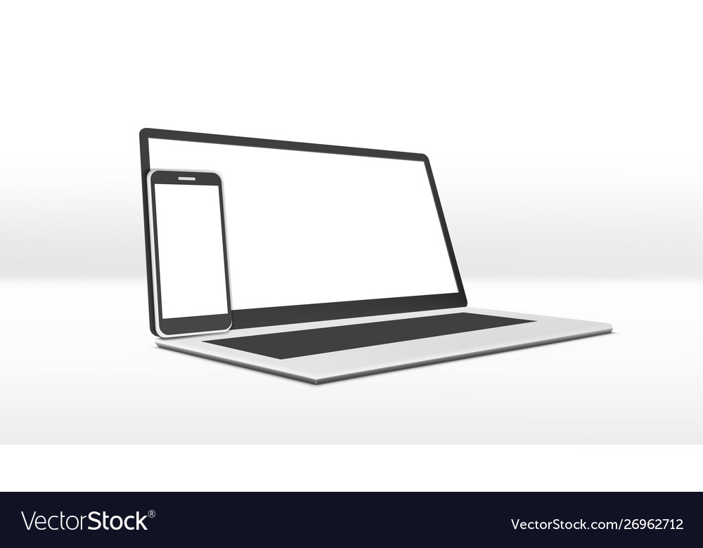 Simple clear laptop and smartphone with white