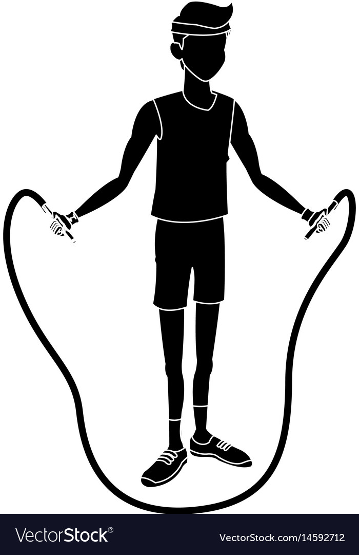 Sport man fitness jump rope lifestyle silhouette vector image