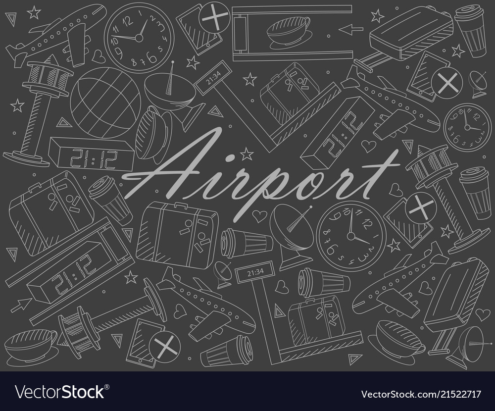 Airport piece of chalk line art design