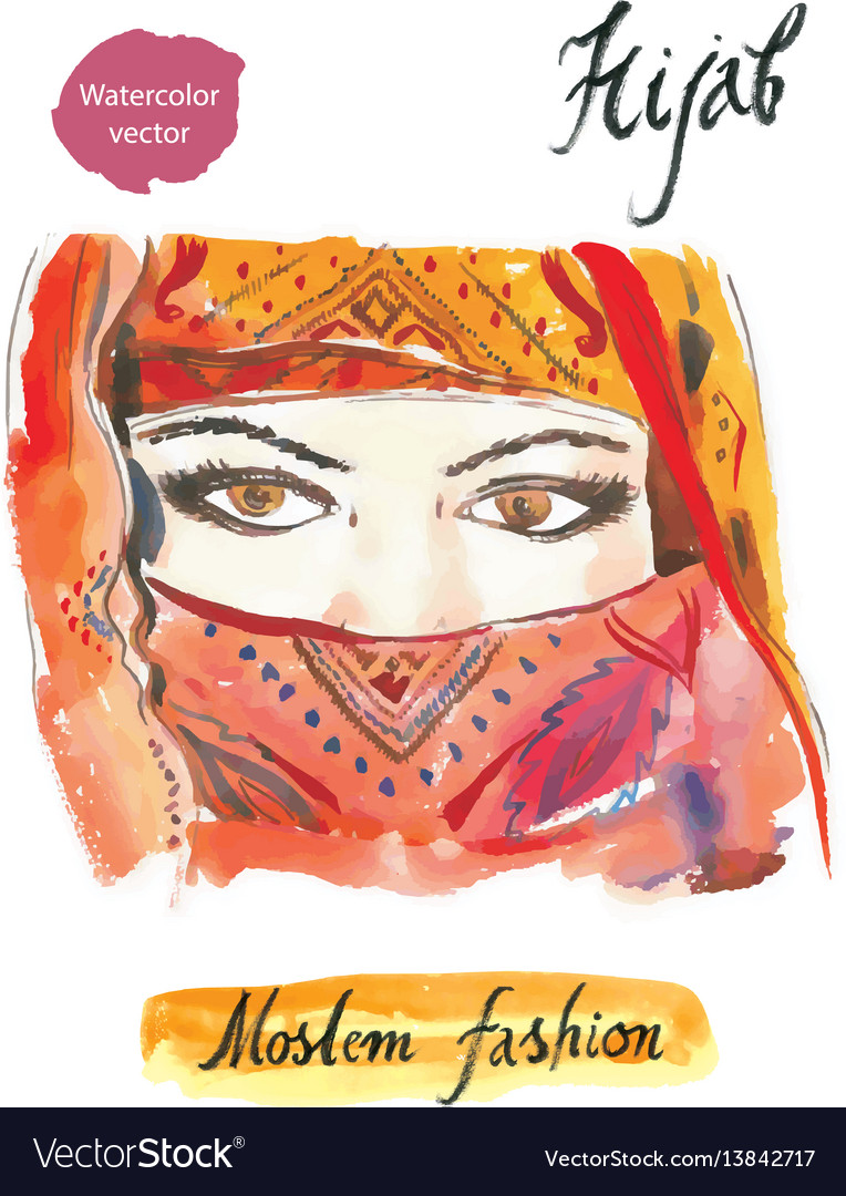 Arabian hijab watercolor