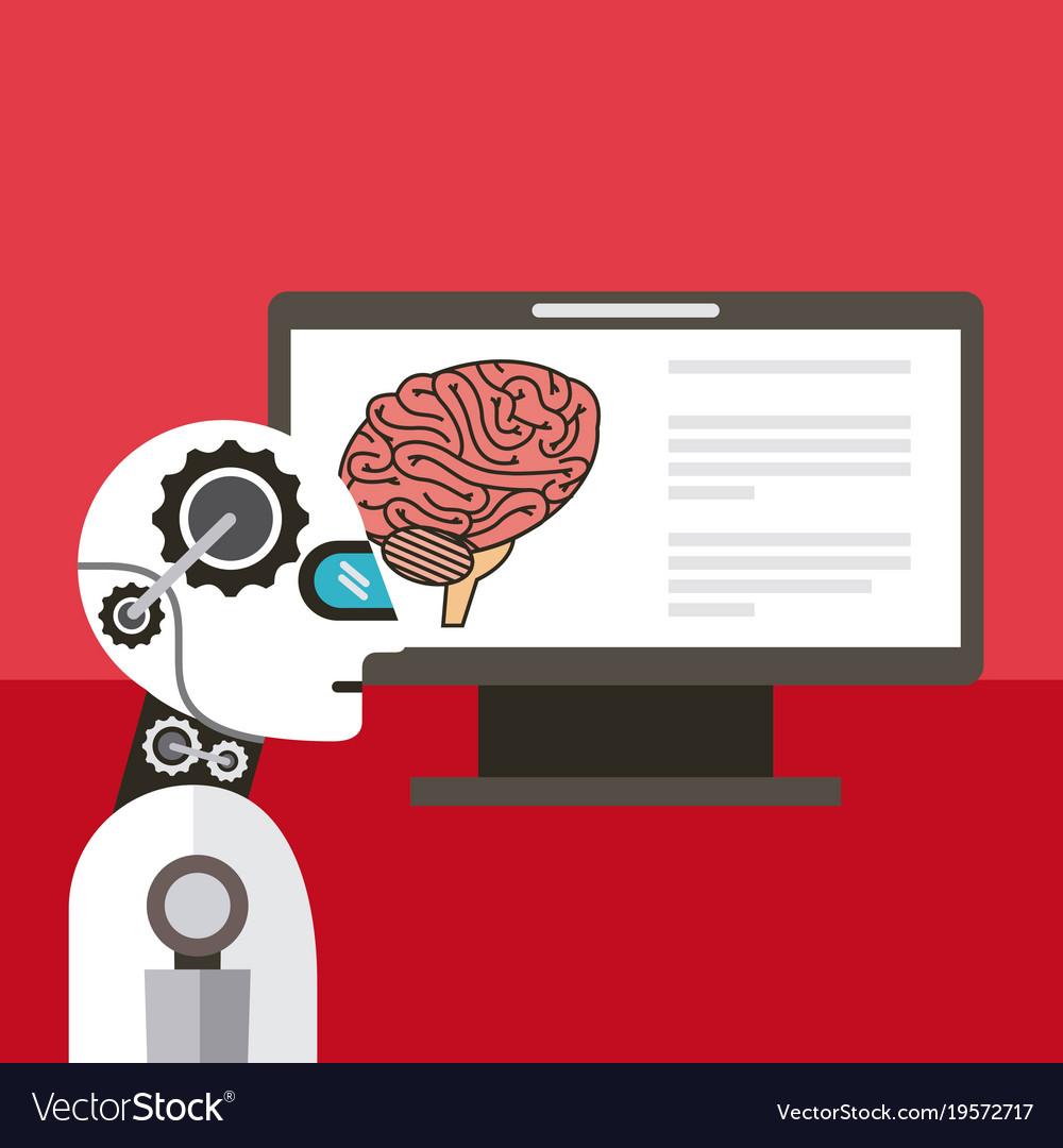 Artificial intelligence computer brain thinking