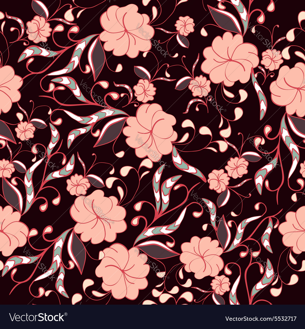 Beautiful seamless floral pattern in bright pink