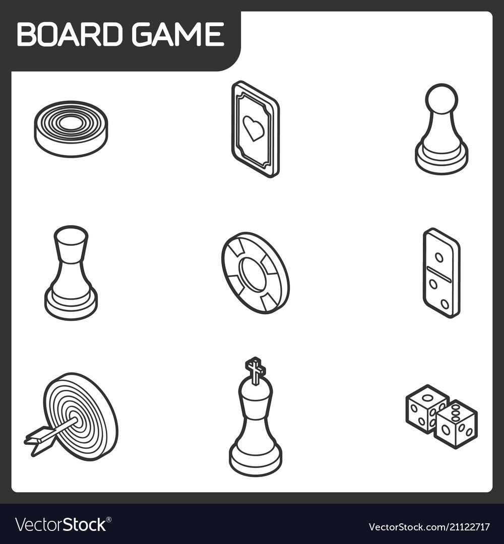 Board Game Outline Isometric Icons Royalty Free Vector Image - Game outline
