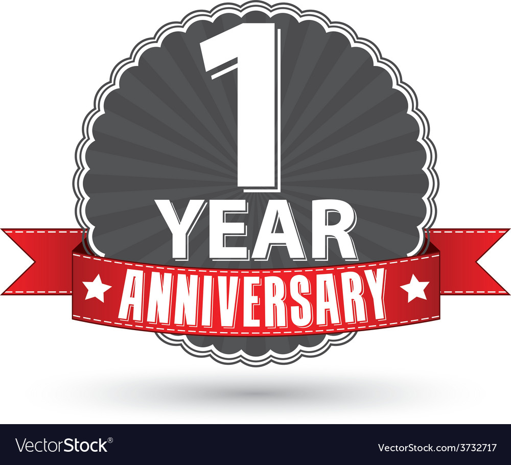 Celebrating 1 year anniversary retro label with vector image