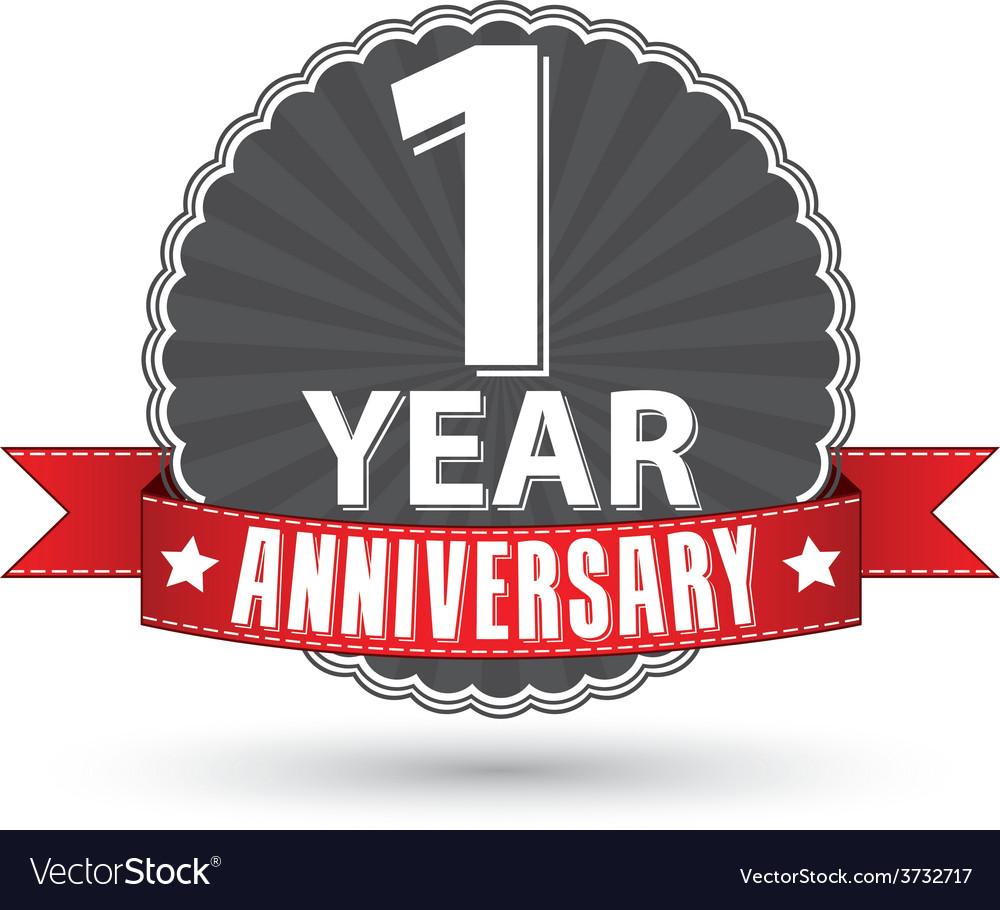 Celebrating 1 year anniversary retro label with