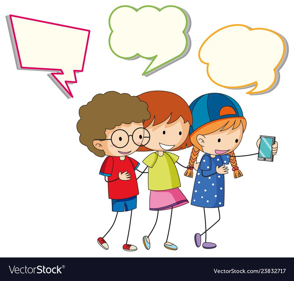 Children with speech balloon