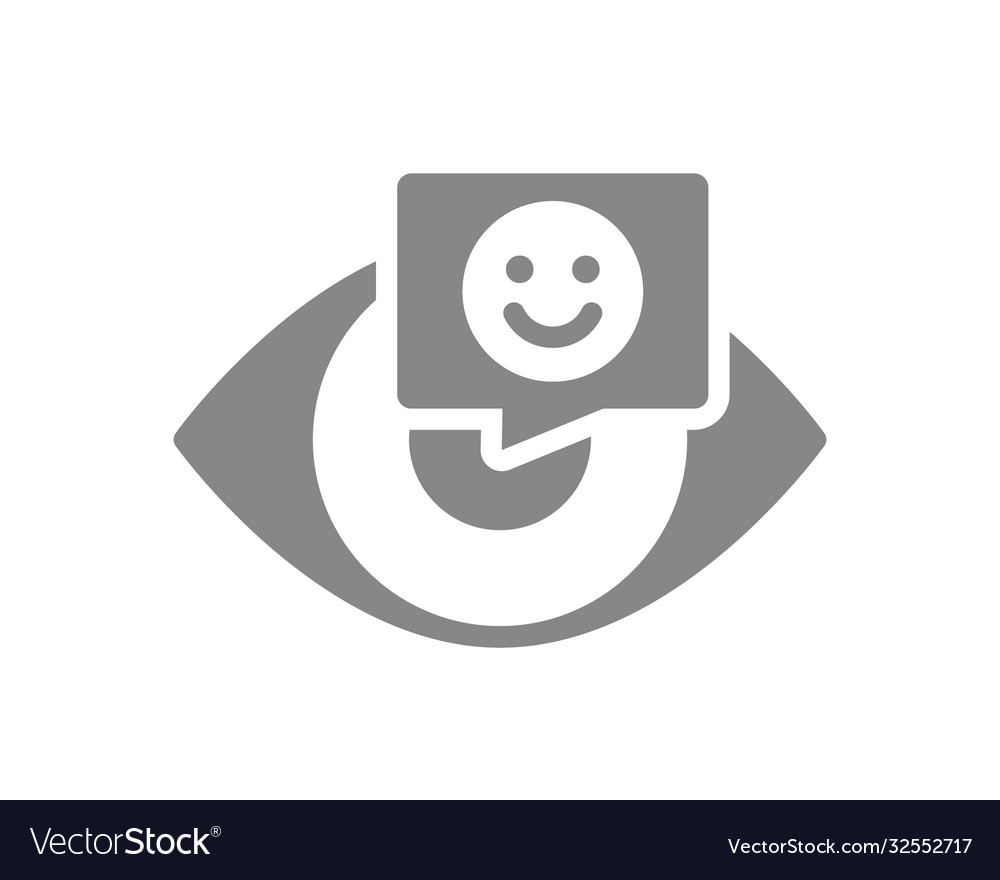 Human eye with happy face in chat bubble grey icon