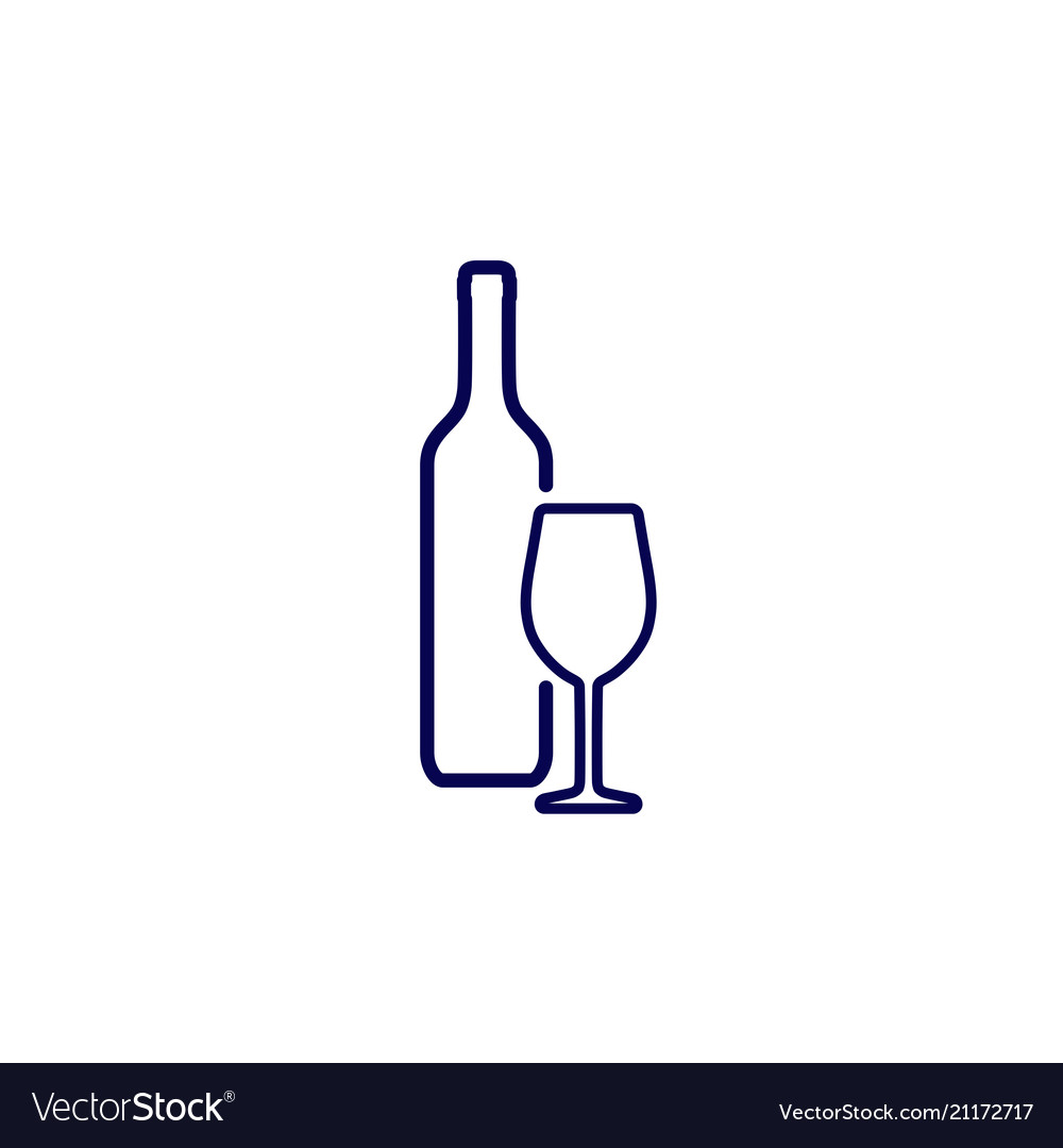 Icon silhouette wine bottle and wine glass