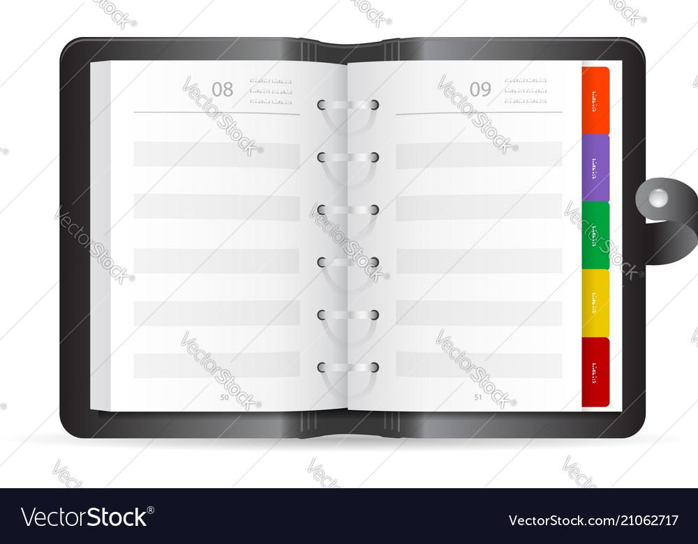Open adress book realistic icon