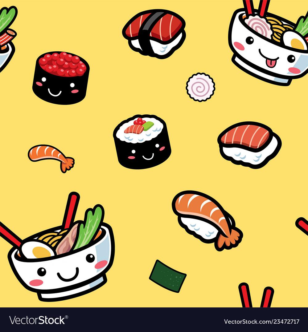 Seamless of cartoon japanese food pattern