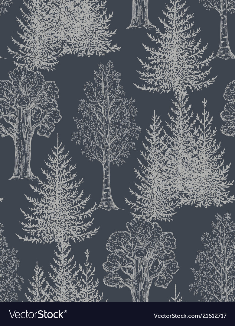 Seamless pattern with hand drawn trees in