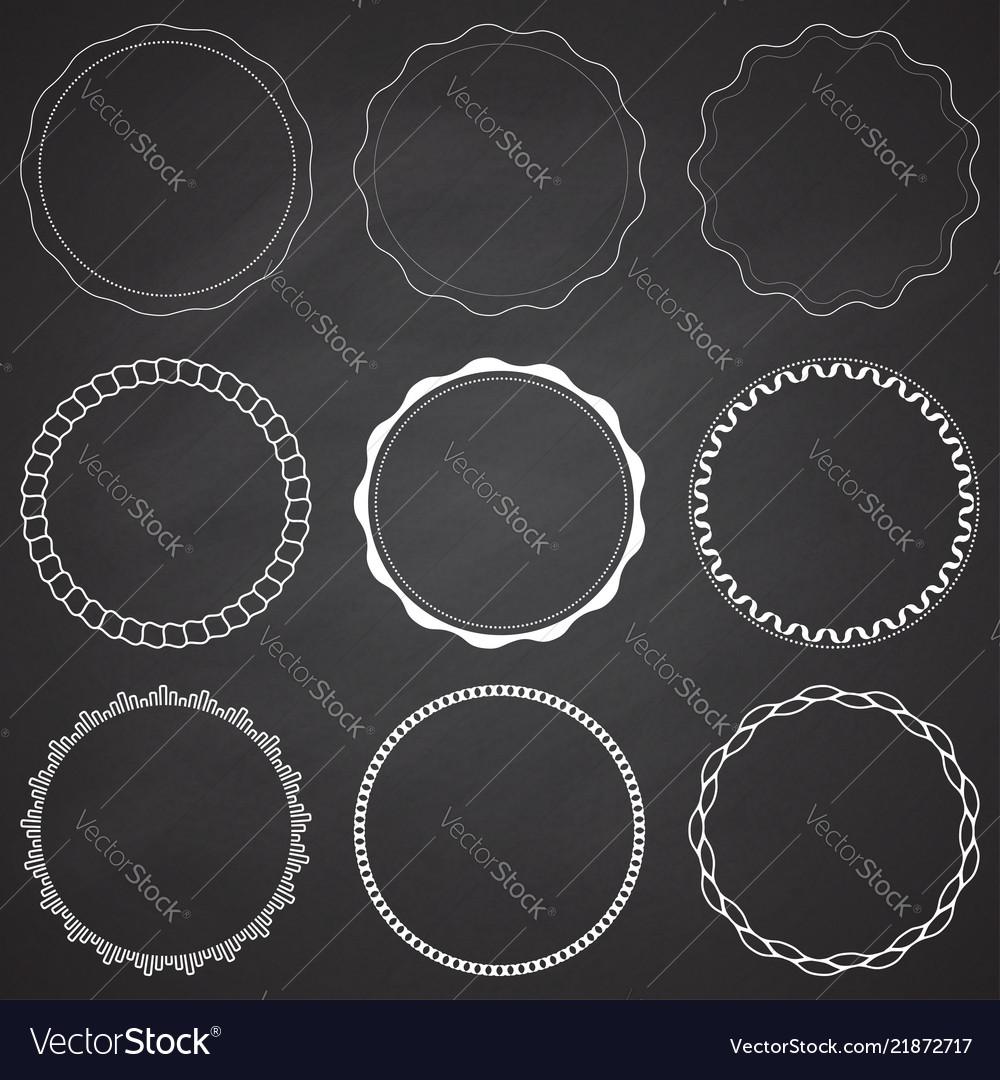 Set of 9 circle design frames borders circles