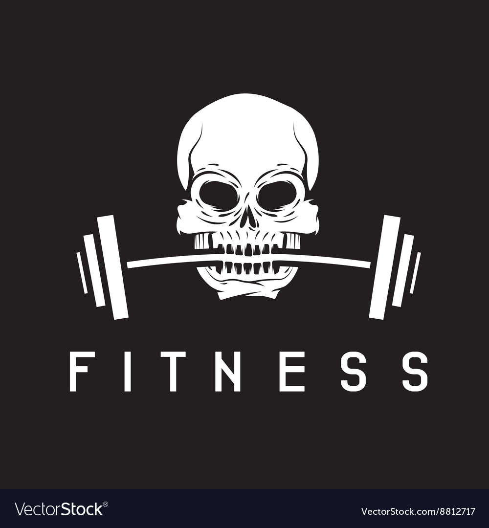 Skull holding barbell in the teeth fitness concept
