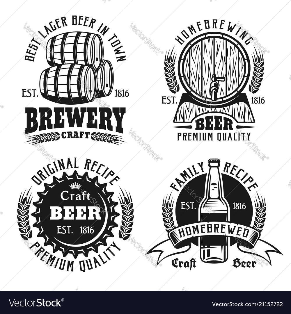 Beer and brewery vintage emblems labels badges