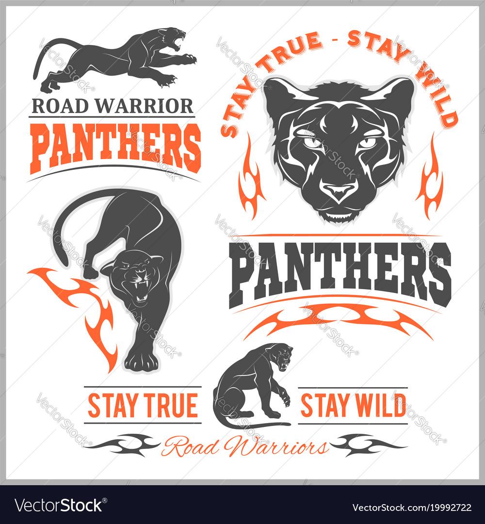 Black panther head mockup template animal symbol vector image
