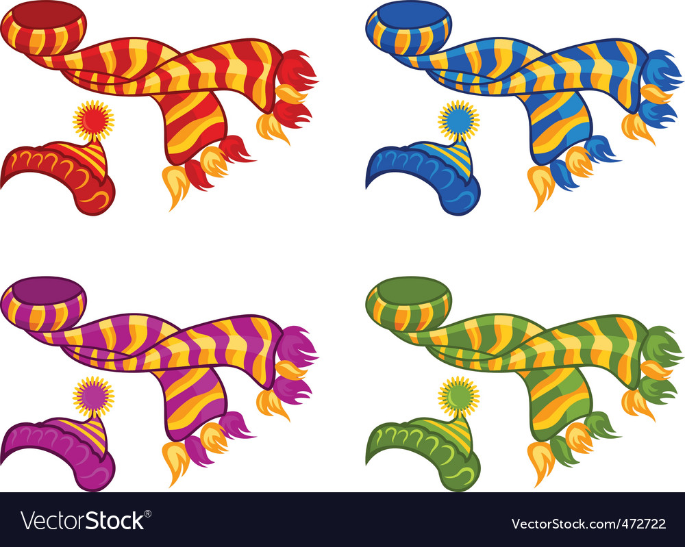 Knitted hat and scarf vector image