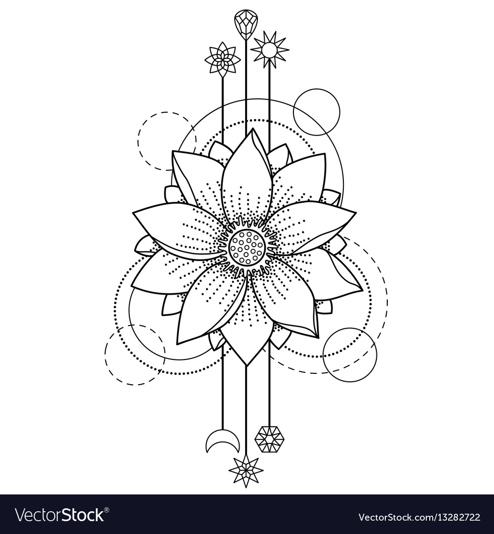 Lotus modern tattoo vector image