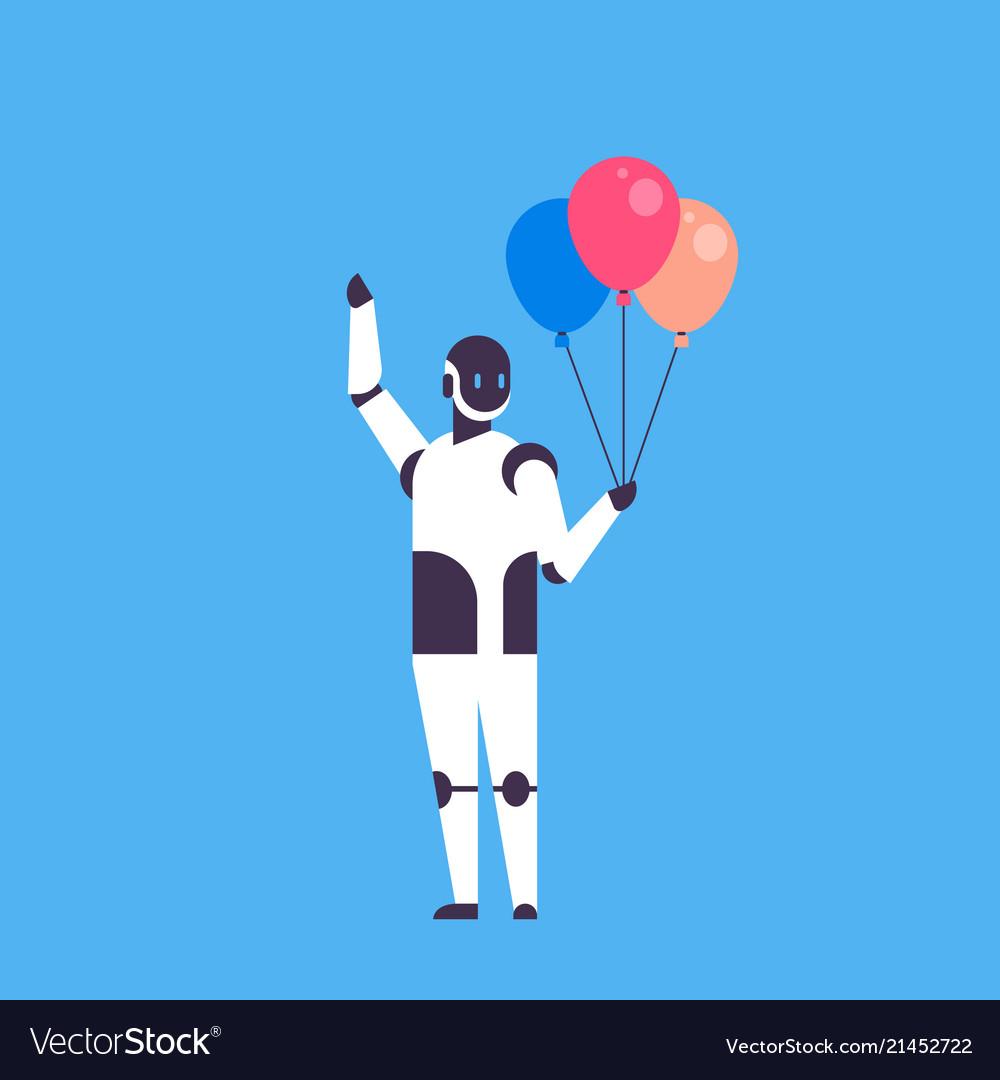 Modern robot holding balloons celebrating event