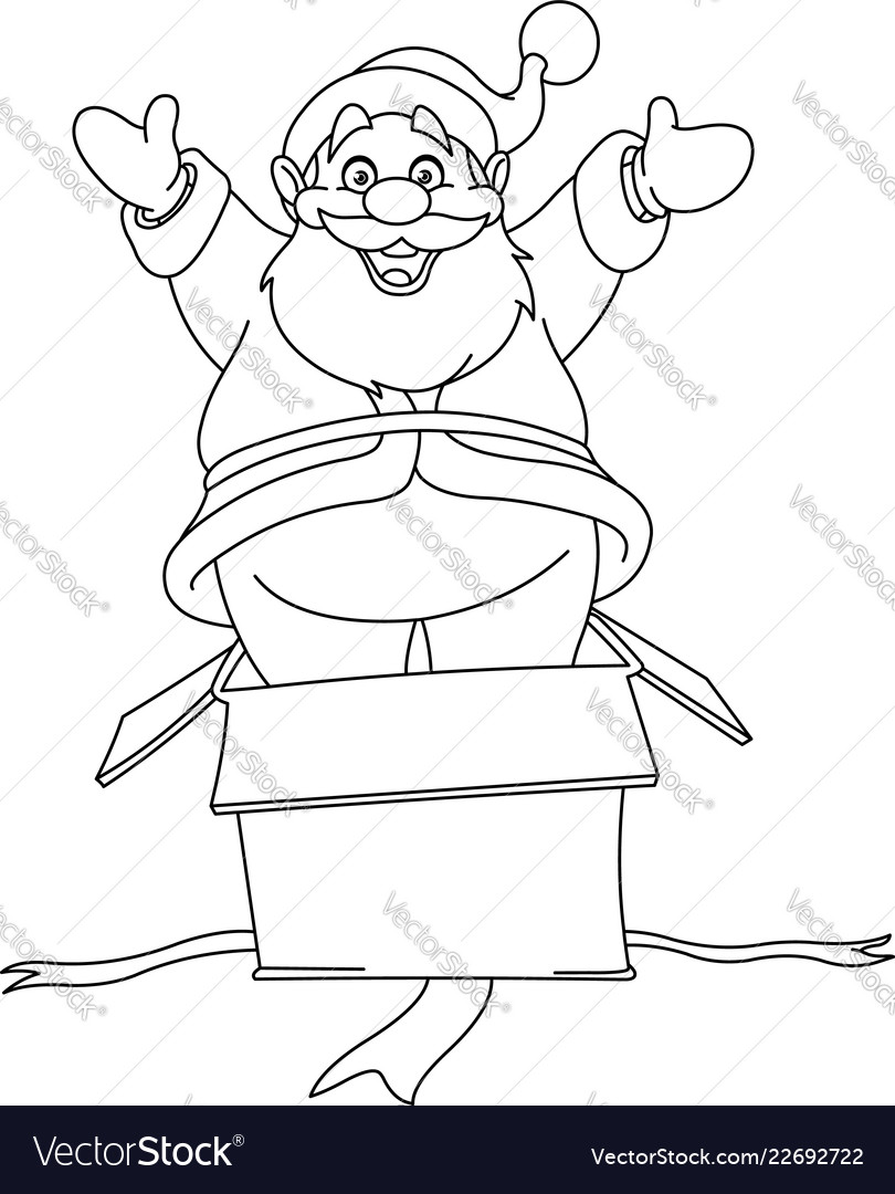 Outlined santa jumps from gift box
