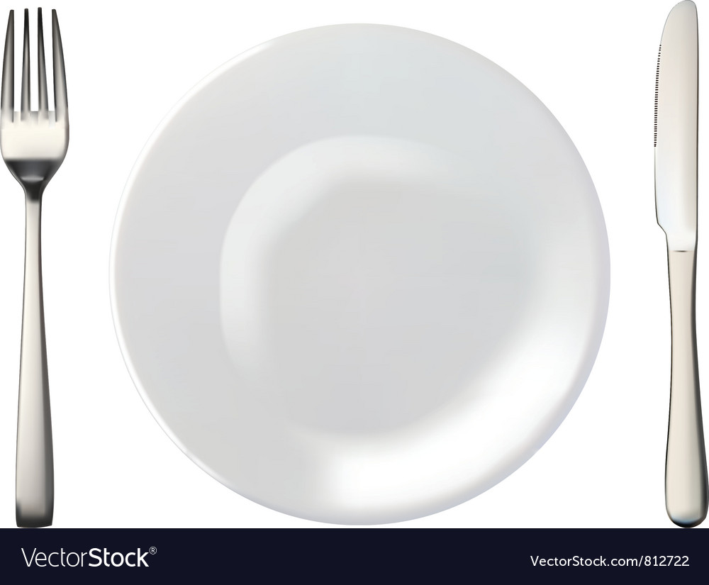 Plate and cultery vector image