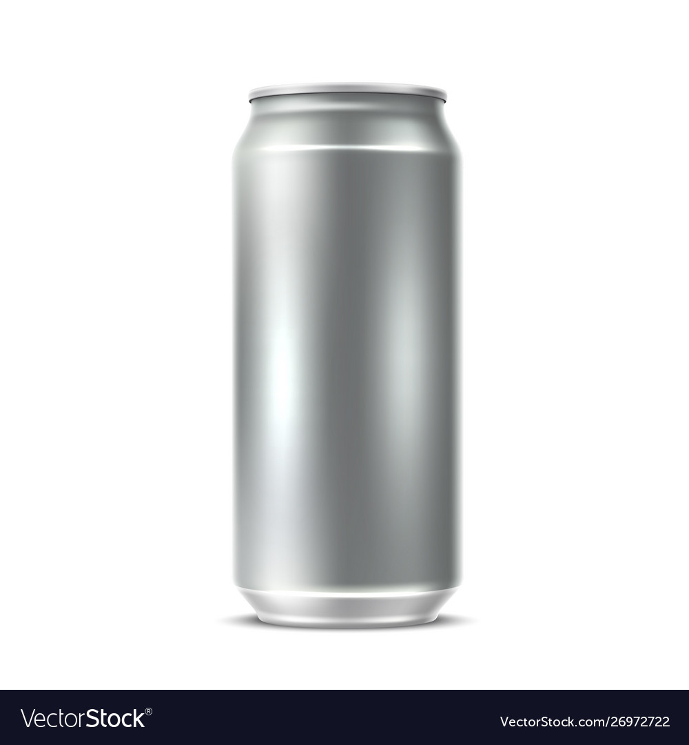 Realistic blank silver can drink package