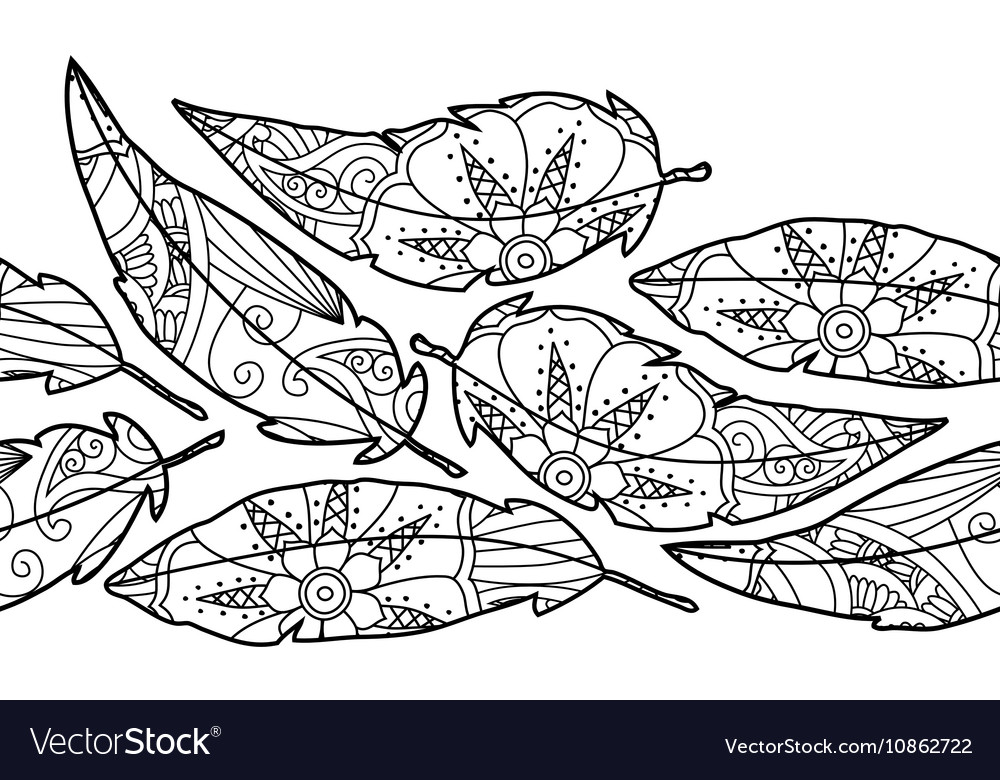 Seamless background with ornate bird feathers vector image
