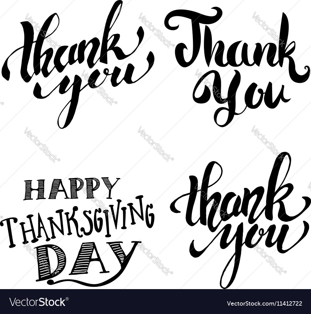 Thank you Happy Thanksgiving Day Hand drawn vector image
