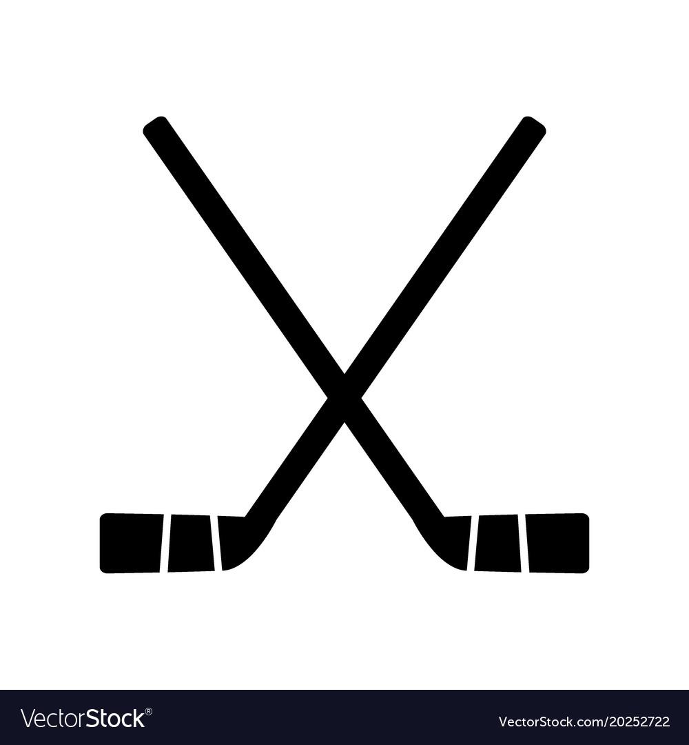 two crossed hockey sticks royalty free vector image rh vectorstock com field hockey stick vector free download hockey stick vector png