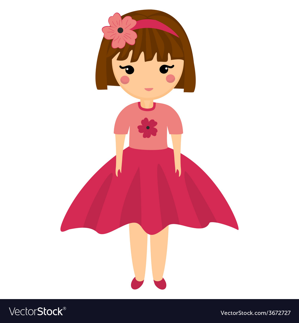 Baby Doll Very Cute Girl in Pink Clothes Little