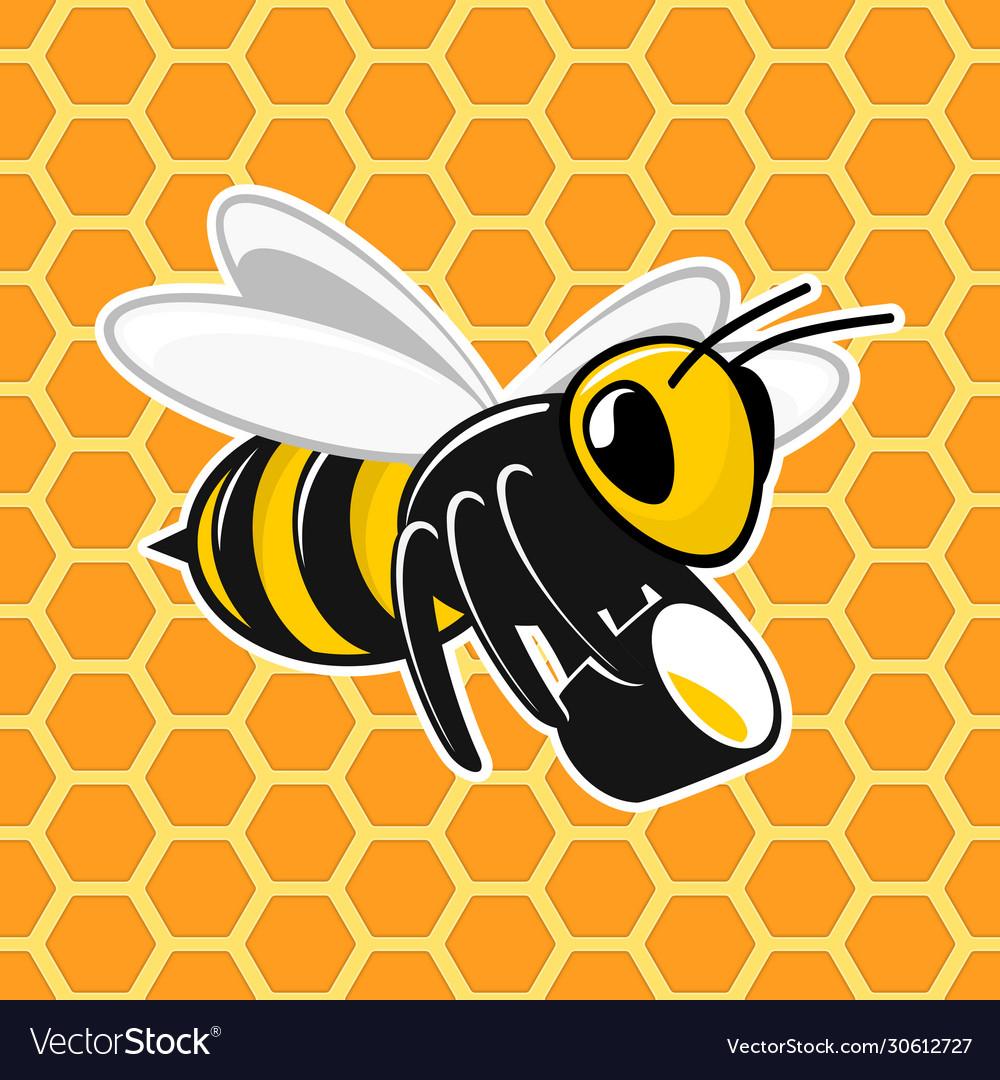 Bee on honeycomb background