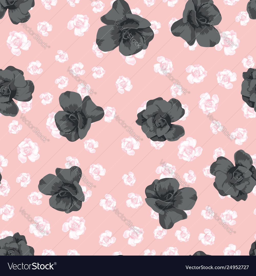 Black Roses On Pink Flowers Background Royalty Free Vector