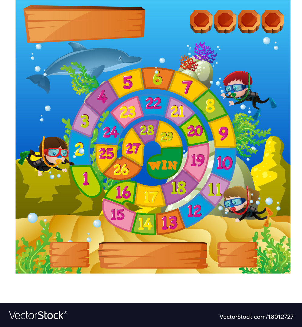 boardgame template with kids diving under the sea vector image
