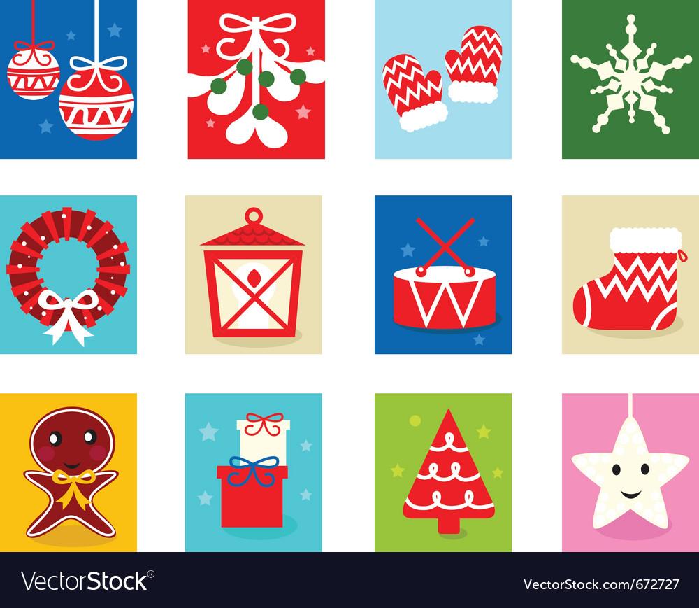 Christmas advent calendar elements 1 vector image