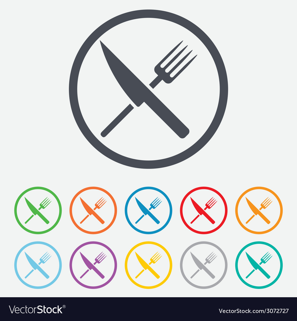 Food Sign Icon Cutlery Symbol Knife And Fork Vector Image