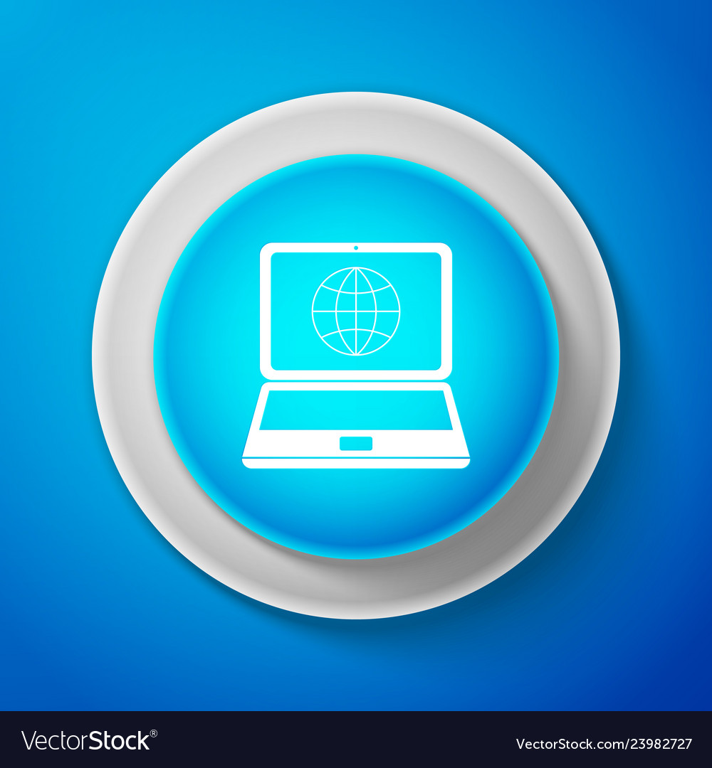 Globe on screen of laptop icon isolated