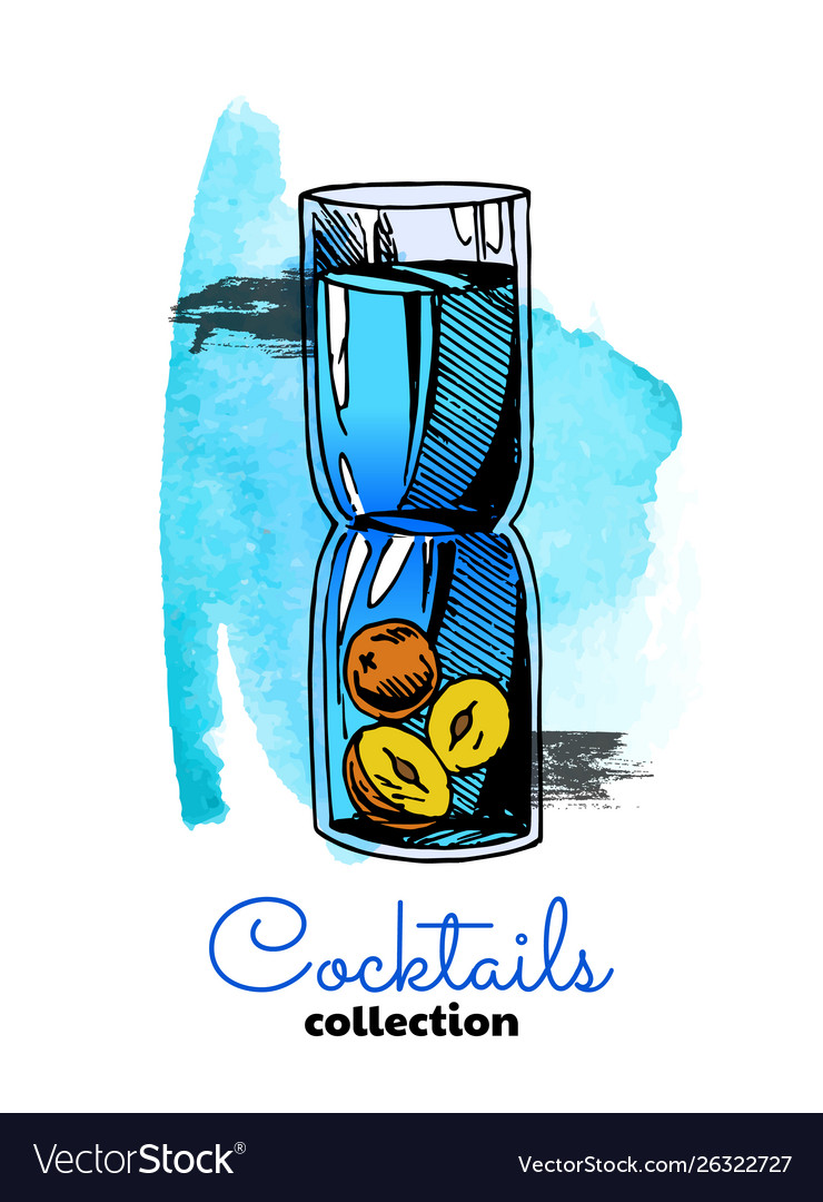 Hand drawn cocktail and watercolor