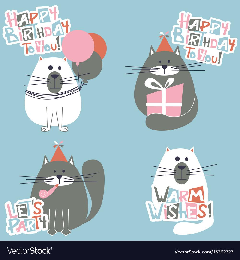 Happy Birthday Cats Set Vector Image