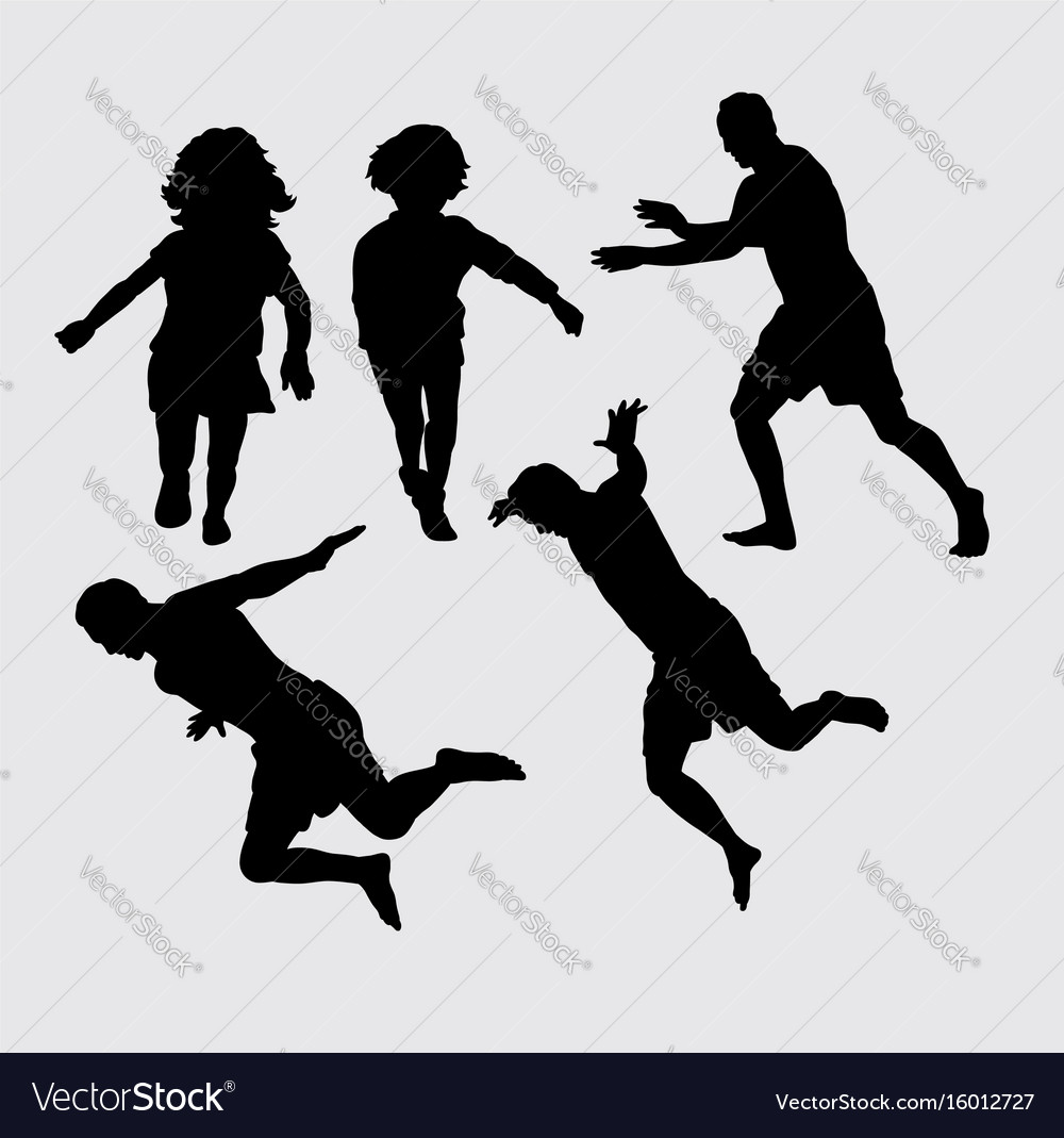 People running and jumping silhouette