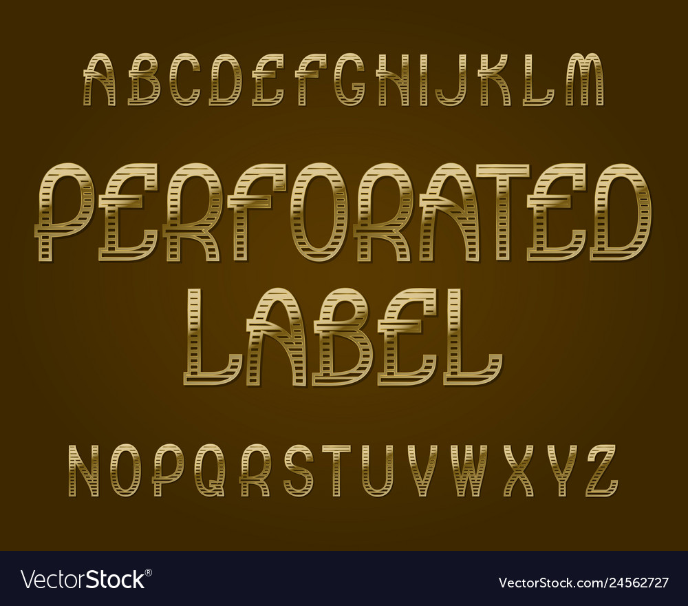 Perforated label typeface golden font isolated