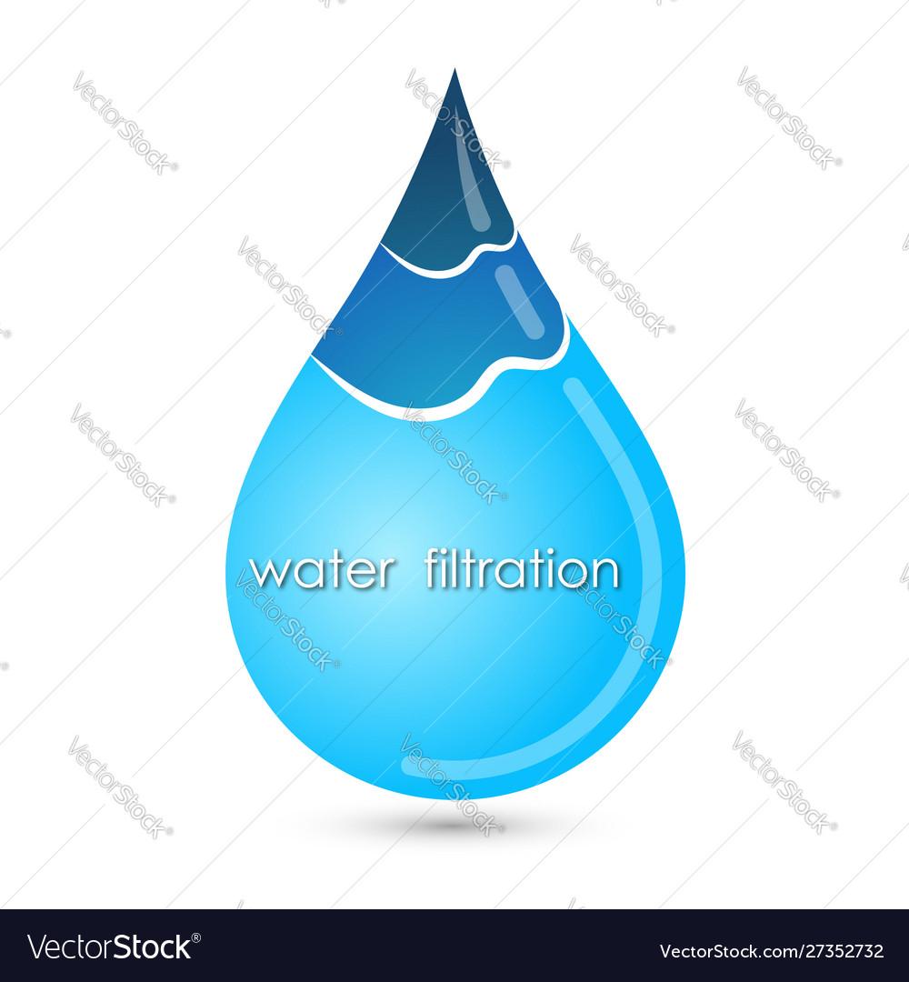 Blue clean drop water symbol