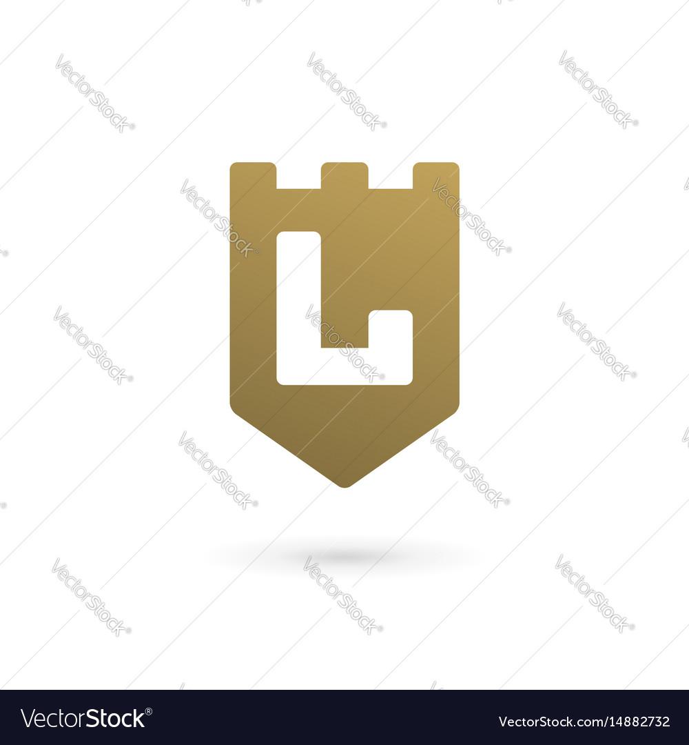 Letter l shield logo icon design template elements vector image
