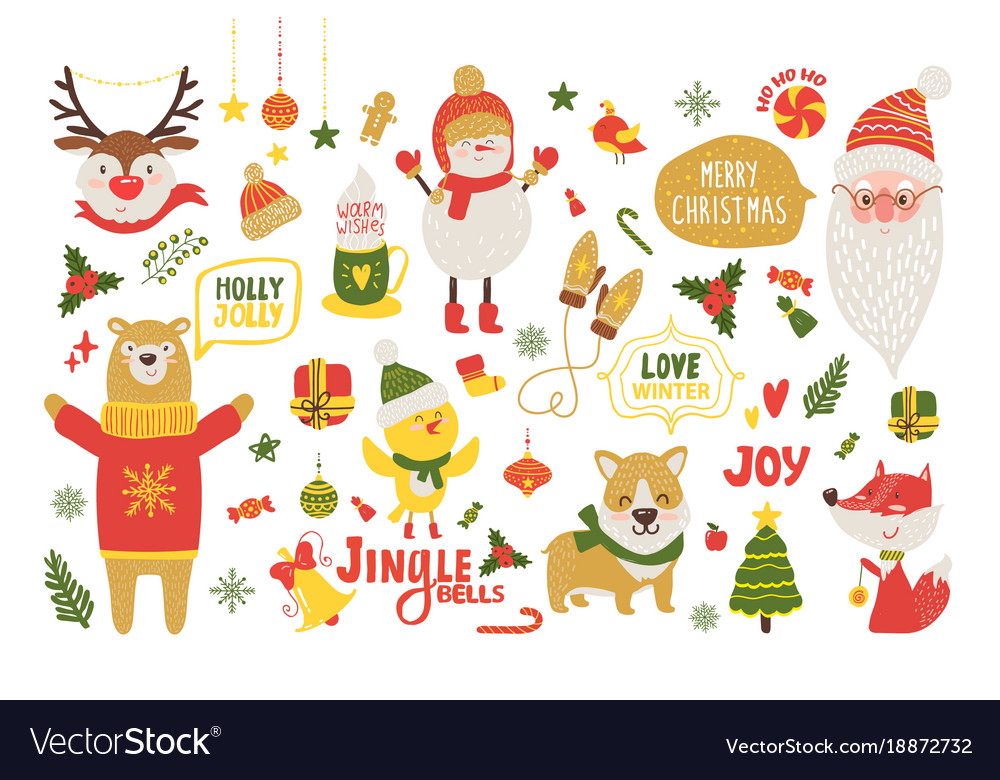 Merry Christmas Animals.Merry Christmas Poster With Cute Cartoon Animals