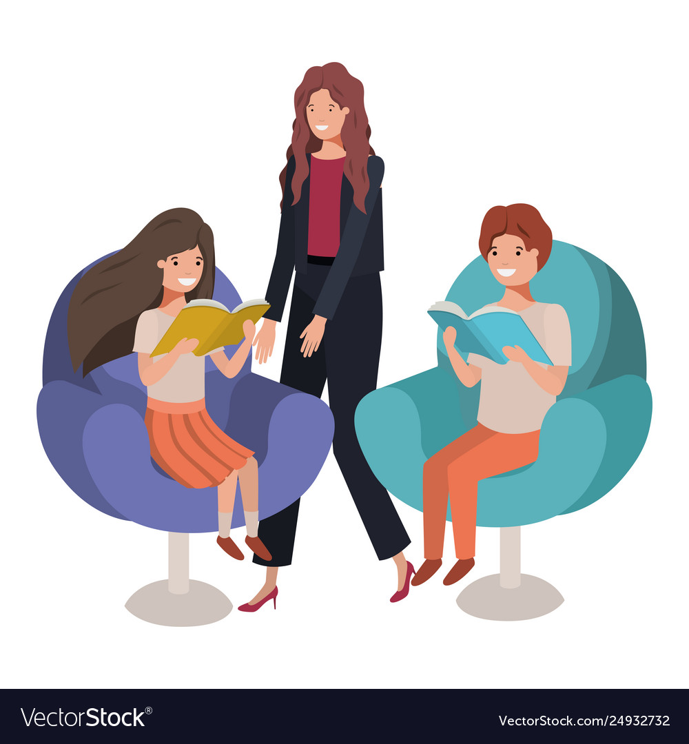 Mother and children sitting in chair avatar