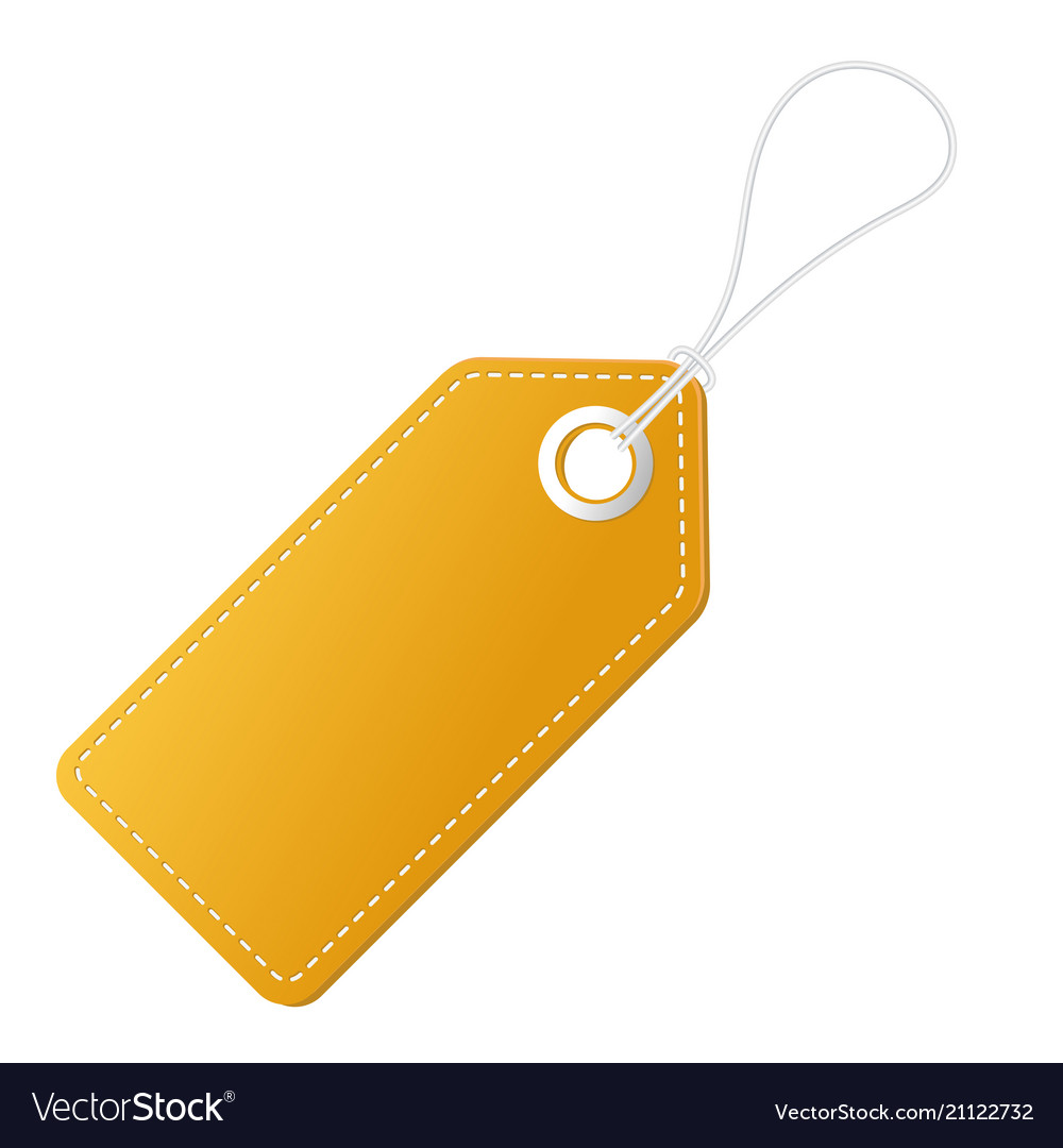 Realistic discount yellow tag for sale promotion